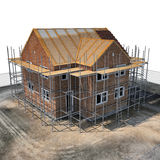 Construction of private houses of brick on white. Angle from up. 3D illustration Royalty Free Stock Photo