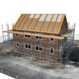 Construction of private houses of brick on white. Angle from up. 3D illustration Stock Images