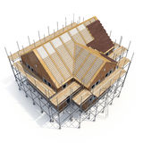 Construction of private houses of brick on white. Angle from up. 3D illustration Royalty Free Stock Photos