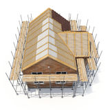 Construction of private houses of brick on white. Angle from up. 3D illustration Royalty Free Stock Image