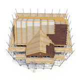 Construction of private houses of brick on white. Angle from up. 3D illustration Stock Photos