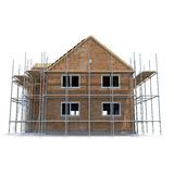 Construction of private houses of brick on white. Side view. 3D illustration Royalty Free Stock Images