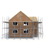 Construction of private houses of brick on white. Side view. 3D illustration Royalty Free Stock Photography