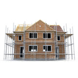 Construction of private houses of brick on white. Side view. 3D illustration Royalty Free Stock Photos