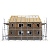 Construction of private houses of brick on white. Side view. 3D illustration Royalty Free Stock Photo