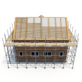 Construction of private houses of brick on white. Side view. 3D illustration Stock Photography