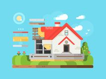 Construction of private houses flat Royalty Free Stock Image