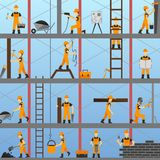 Construction Process Background. With builders repairmen and maintenance workers vector illustration Royalty Free Stock Images
