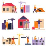Construction process of building construction using construction machines and cranes. royalty free illustration