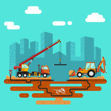 Construction process, city landscape. Vector flat style illustration of construction process, city landscape. Truck crane and bulldozer or excavator laying of Stock Photos