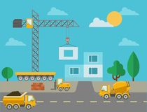 Construction process with construction machines Stock Photography
