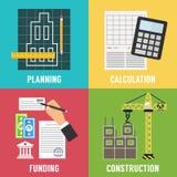 Construction process  Infographic. Vector template. Construction process Infographic. Building concept. Vector flat design illustration Royalty Free Stock Photos