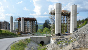 Construction process of pillars, which are going to be a part of new highway Royalty Free Stock Photos