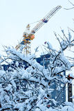 Construction process in a winter city Royalty Free Stock Photos