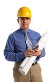 Construction Professional. Hispanic construction professional wearing hardhat isolated over white royalty free stock image
