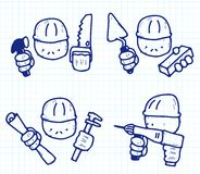 Construction professions. Vector sketch of builders with professional tool Stock Image