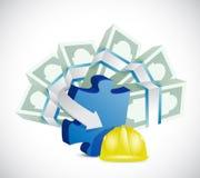 Construction profits concept. Helmet, puzzle, money. illustration design over a white background Royalty Free Stock Images