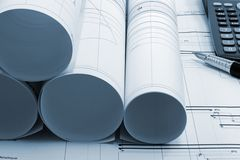 Construction project drawings blueprint Stock Photography