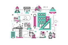 Construction project illustration Stock Images