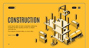 Construction project isometric vector web banner royalty free illustration