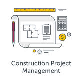 Construction Project Management thin line flat icons. Architects workplace illustration. Architecture planning on paper. Concept illustration for architectural Stock Photos