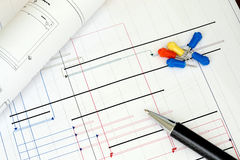 Construction project planning. Tools and a pen Stock Photography