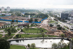 Construction Project Site. A construction site in close proximity to Independence Square. The entire construction site and the heavy equipment vehicle is seen stock photo