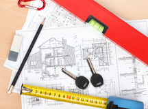 Construction projects and tools Stock Photos