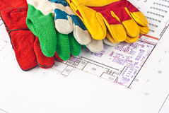 Construction protective gloves. Multicolored construction protective gloves for you Stock Photos
