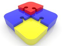 Construction of puzzle pieces in various colors. In background stock illustration