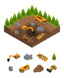 Construction Quarry with Excavators and Equipment Isometric View. Vector Stock Photos