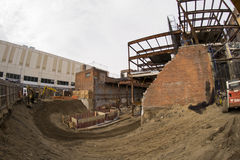 Construction in Queens. NY. Shot with fisheye lens Royalty Free Stock Images