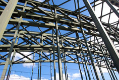 Construction of railway bridge against sky in the sunlight Royalty Free Stock Images