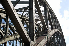 Construction of the railway bridge against sky in a sunlight Royalty Free Stock Photography