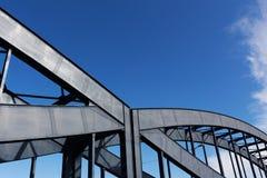 Construction of a railway bridge against sky  sunlight Royalty Free Stock Image