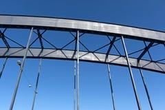 Construction of railway bridge against sky in sunlight Royalty Free Stock Photos