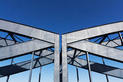 Construction of railway bridge against sky in sunshine Royalty Free Stock Photography