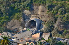 Construction of a railway tunnel under the mountain, Diano Caste Royalty Free Stock Photography