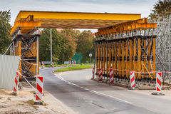 Construction of the railway viaduct Royalty Free Stock Photography