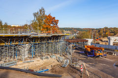Construction of the railway viaduct Royalty Free Stock Photos