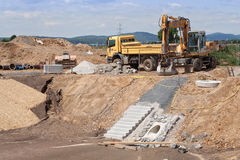 Construction of a rainwater retention basin Royalty Free Stock Images