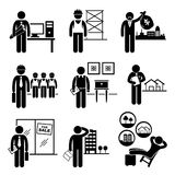 Construction Real Estates Jobs Occupations Careers. A set of pictograms showing the professions of people in the construction and real estates industry Stock Images