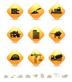 Construction and realty icons on yellow rhombic buttons Royalty Free Stock Image