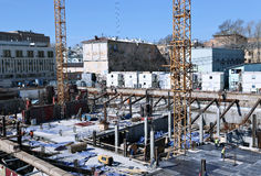 Construction of a reinforced concrete foundation Royalty Free Stock Photo