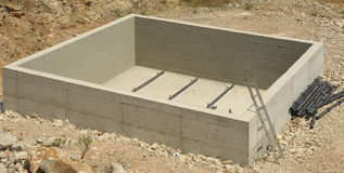 Construction of reinforced concrete tub. For treatment and purification of waste water stock photo