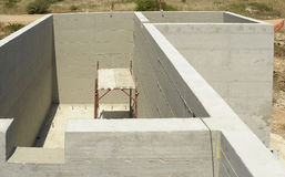 Construction of reinforced concrete tub. For treatment and purification of waste water royalty free stock photos