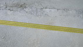 Construction reinforcement rails laying on concrete floor. Building, construction and house renovation stock video