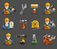 Construction remodeling work isometric icons set Royalty Free Stock Photo