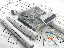 Construction. Renewable energy. Real Estate in Europe. Building a house. A house equipped with solar panels for energy efficiency Royalty Free Stock Image