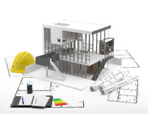 Construction. Renewables. Real Estate in Europe and USA. A house under construction on the plans following established protocols for responsible energy Stock Photo